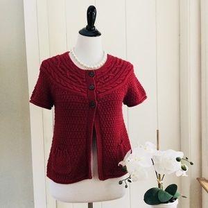 LOFT Crimson Red Short Sleeve Cable Knit Cardigan